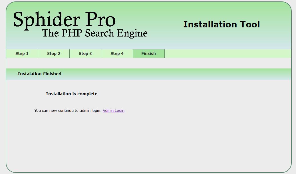 Sphider Pro instalation image 5