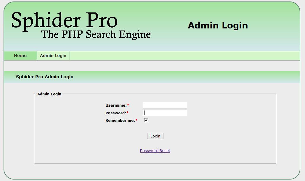 Admin Login Sphider Pro